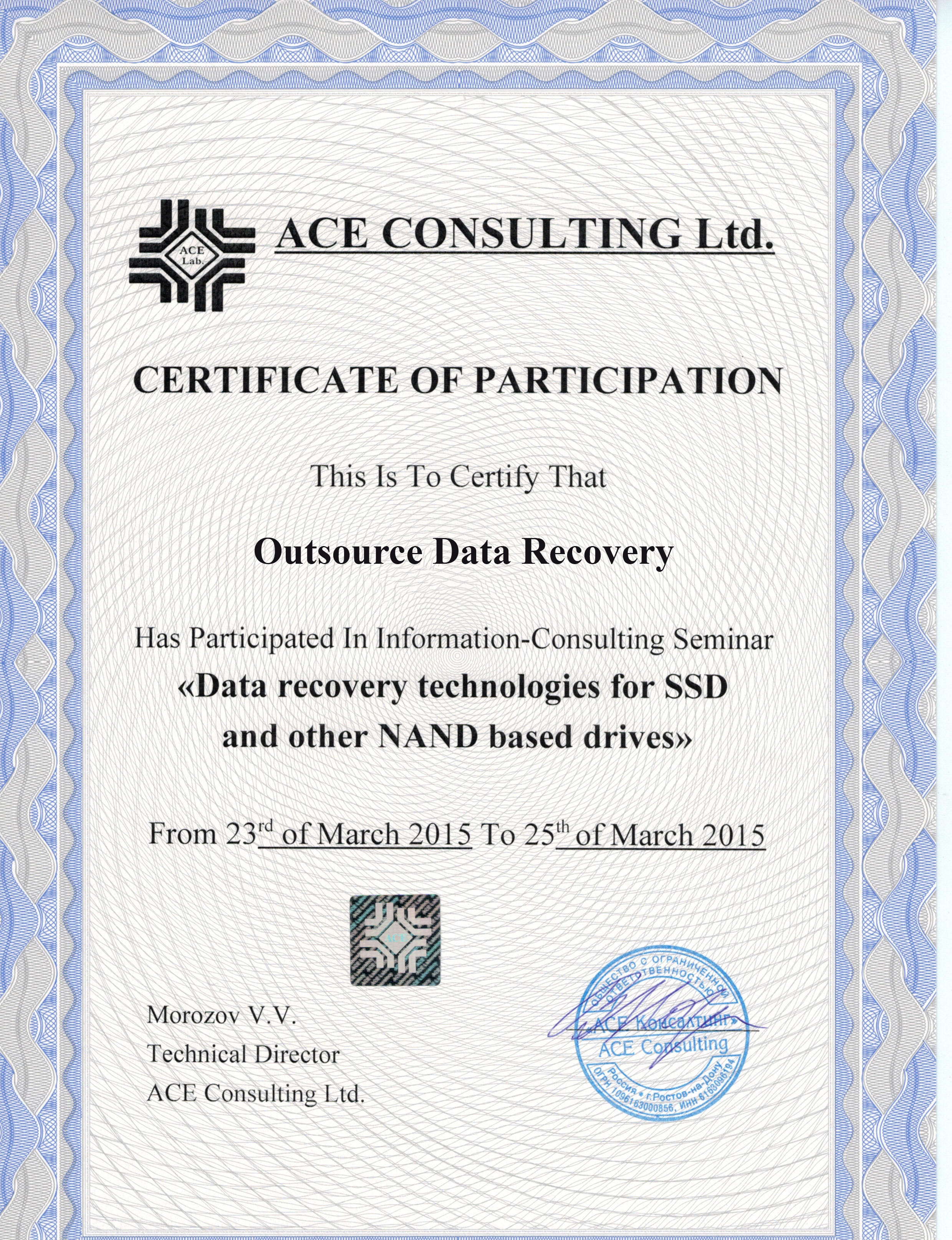 Outsource Data Recovery SSD Certification